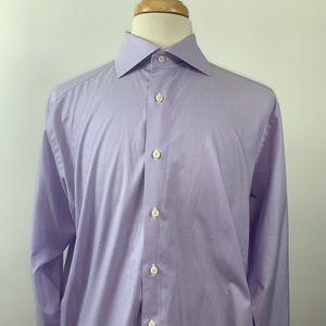 David Donahue Mens L/S Dress Shirt Size 17 Purple